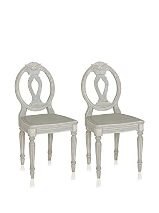 nuLOOM Set of 2 Katie French Chateau Style Fluted Dining Chairs