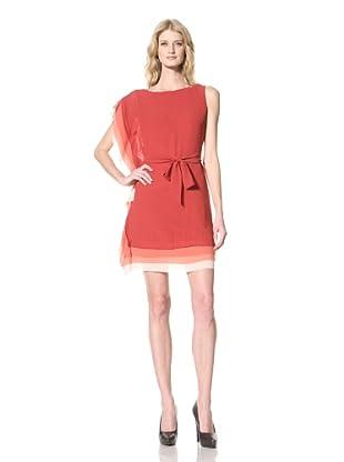 Vince Camuto Dresses Women's Ombre cascade dress withbelt (Garnet)