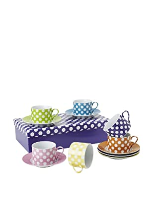 Classic Coffee & Tea Set of 6 White Dots Tea Cups & Saucers, Assorted, 7-Oz.