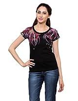 Rang Rage - Hand-painted Vintage Maroon Blush Women's T-shirt - Cotton
