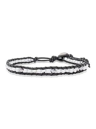 Lucie & Jade Echtleder-Armband Glasbeads, Glaskristall schwarz/weiß/silber