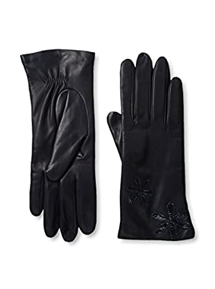 Portolano Women's Leather Gloves with Patent Floral Applique (Navy/Mysterioso)