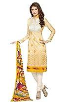 Rozdeal Women Cotton Gold Embroderied Salwar Kameez