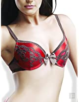 Padded Satin And Lace Bra-Red-36C