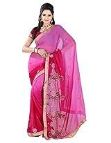 Khushali Multicolored Rani Chiffon Saree With Unstitched Blouse Piece