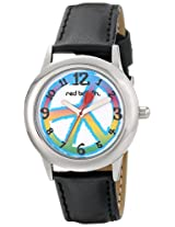 Red Balloon Kids W000341 Peace Love and Happiness Tween Stainless Steel Black Leather Strap Watch