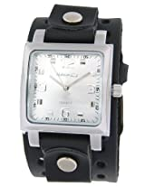Nemesis #B5156S Men's Square Silver Dial Wide Leather Cuff Band Watch