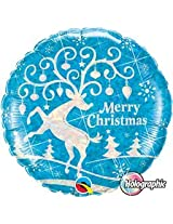 Christmas Decorated Reindeer Silver & Blue Holographic Qualatex 18 Inch Foil Balloon