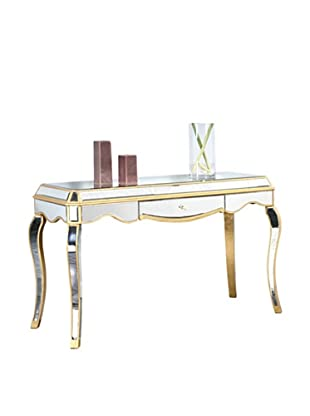 Camille Mirrored Dining Table, Silver Leaf