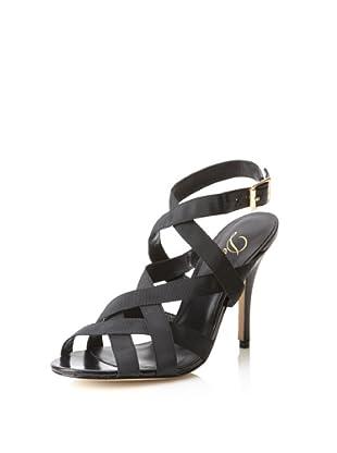 Delman Women's Ester Cross Front High Heel (Black)