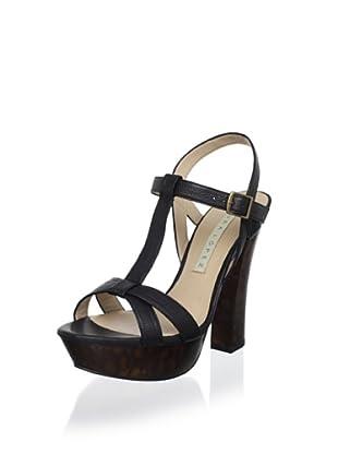 Pura López Women's T-Strap Tortoise Sandal (Faber Negro)