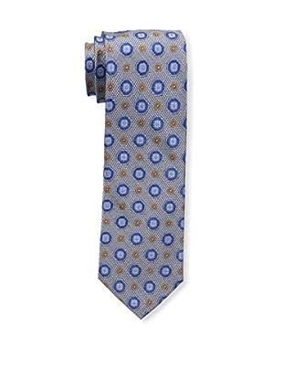 Bruno Piattelli Men's Medallion Silk Tie, Silver