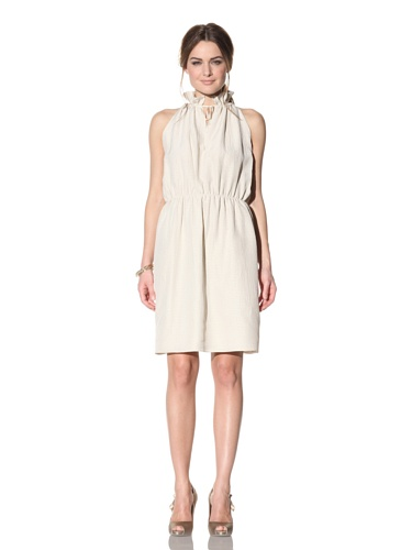 Behnaz Sarafpour Women's Sleeveless Seersucker Silk Dress (Ecru)