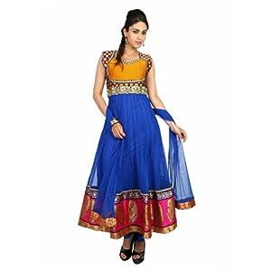 Fashiontra Women's Net Anarkali Suit (JUL22101_Blue_Large)
