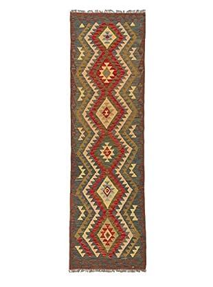 Hand-Woven Izmir Kilim, Brown/Red, 3' x 9' 11