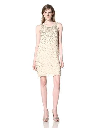 Alexia Admor Women's Cascading Crystal Silk Shift Dress (Oatmeal)
