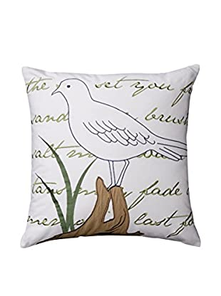 Embroidered Seagull Pillow, White/Natural/Green