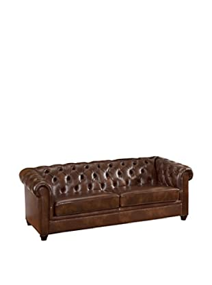 Abbyson Living Tuftidina Italian Leather Sofa, Chestnut Brown