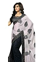 Net Saree in Black Colour for Party Wear