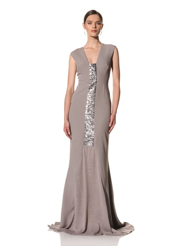 Bibhu Mohapatra Women's Sleeveless Gown with Panel (Lavender Grey)