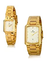 Titan Bandhan Analog White Dial Pair Watch - NE19552955YM02