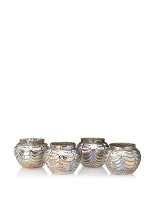 Basket Shaped Mercury Glass Votive Holder, Antique Pearl