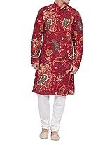 Shaliindia Men Cotton Long Kurta Nehru Collar 3 pockets,M-CLK40-1015,Maroon,Size-40 Inch