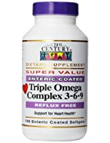 21st Century Dietary Supplement Triple Omega Complex 3-6-9 Enteric Coated Softgels, 180 Count Bottle