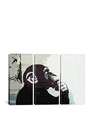 Banksy The Thinker Monkey Gallery Wrapped Triptych Canvas Print