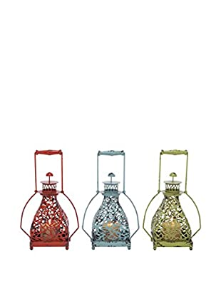 Set of 3 Metal Lantern Candle Holders, Multi