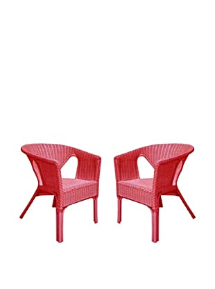 Rattan Living Set of 2 Wicker Chairs, Red