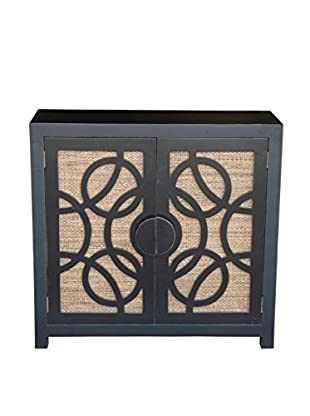 Jeffan Sumba TV Stand With 2 Doors, Black And Tan