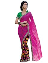 Riti Riwaz Pink saree with unstitched blouse SGM1863