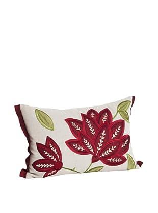 Saro Lifestyle Natural Flower Appliqué Pillow