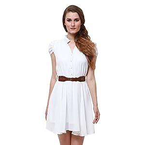 Oshea Women's Georgette Short Sleeve Tunic Dress (White)