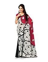 Vaamsi Women's Faux Georgette With Blouse Piece Saree (Vaio2020 _Red )