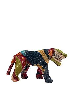 Vintage Sari Fabric Paper Mache Tiger, Multi