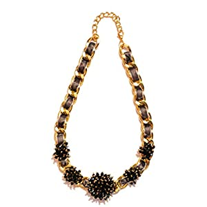 Daamak Jewellery Black And Golden Statement Necklace