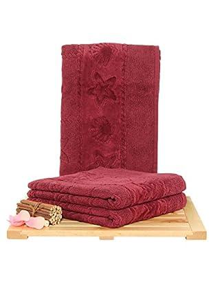 Maisonette Akdeniz 3-Piece Hand Towel Set, Claret Red