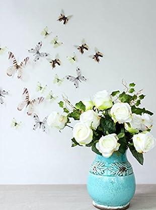 Ambiance Live Wandtattoo 18 tlg. Set 3D Adhesive Butterflies Chic translucid weiß
