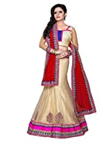 SURUPTA Enchanting Cream Wedding Party Wear Lehenga Choli