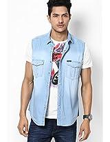 Blue Sleeveless Denim Shirt Pepe Jeans