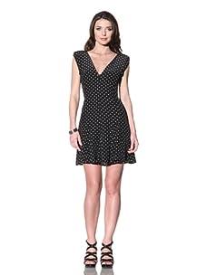 Vena Cava Women's Orange Juice Polka Dot Dress (Black)