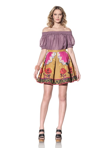 Anna Sui Women's Floral Print Pleated Skirt (golden)