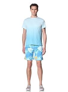 Olasul Men's Manana Shorts Sleeve Tee (Cyan)