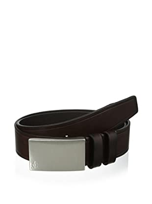 J.Campbell Los Angeles Men's Embossed Plaque Buckle Belt (Brown)