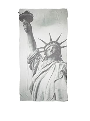 CHIC Women's Statue Of Liberty Digital Woven Viscose Scarf, Grey, One Size