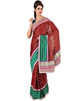 Carnelian Red Faux Georgette Embroidered Saree