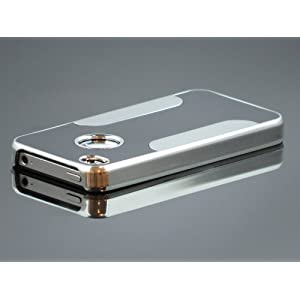 Gioiabazar Luxury Steel Aluminum W/Chrome Snapon Hard Cover Case for iPhone 4 4S 4G Black