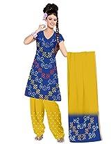 Kala Sanskruti Bandhani Cotton Satin Blue Dress Material